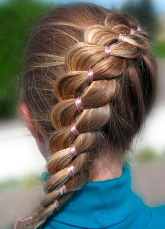 Прическа французская коса с ленточкой