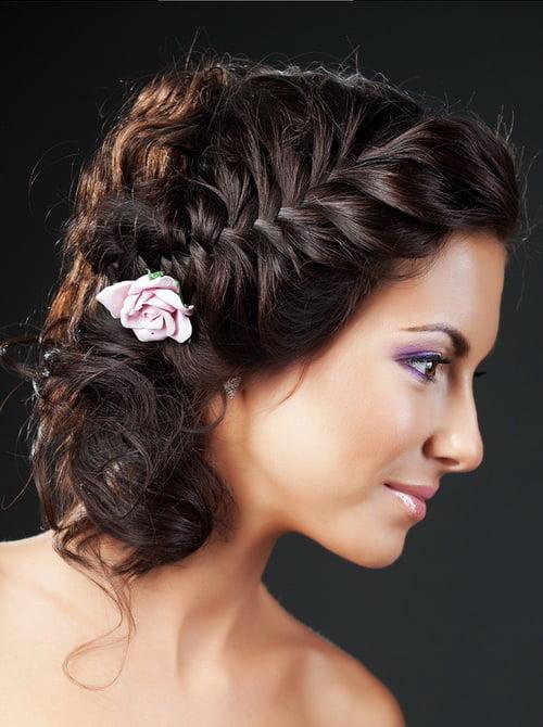 Вечерние прически с плетением для коротких волос
