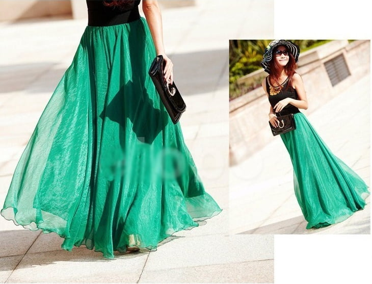 Пышная длинная юбка из шифона